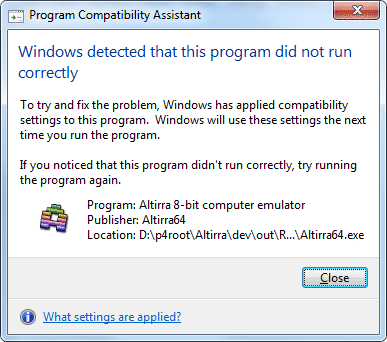 [Program Compatibility Assistant]